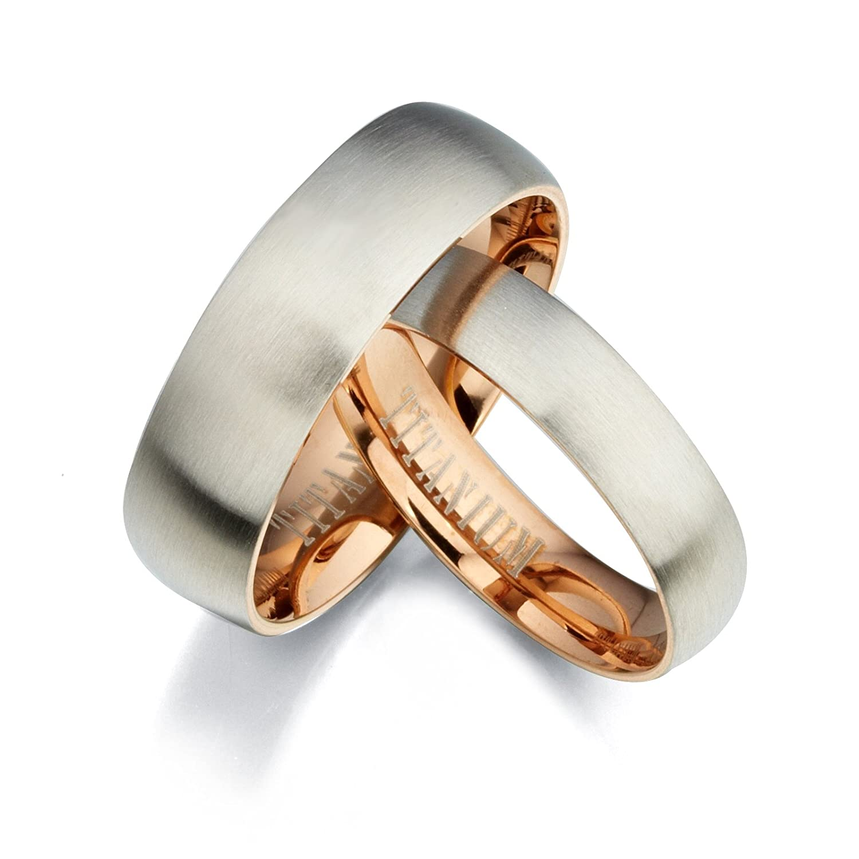 5 6.5 Women Ring Size Gemini Groom /& Bride Two Tone Rose Gold /& Silver Brush /& Polish Titanium Wedding Ring Set Width 7mm /& 5mm Men Ring Size