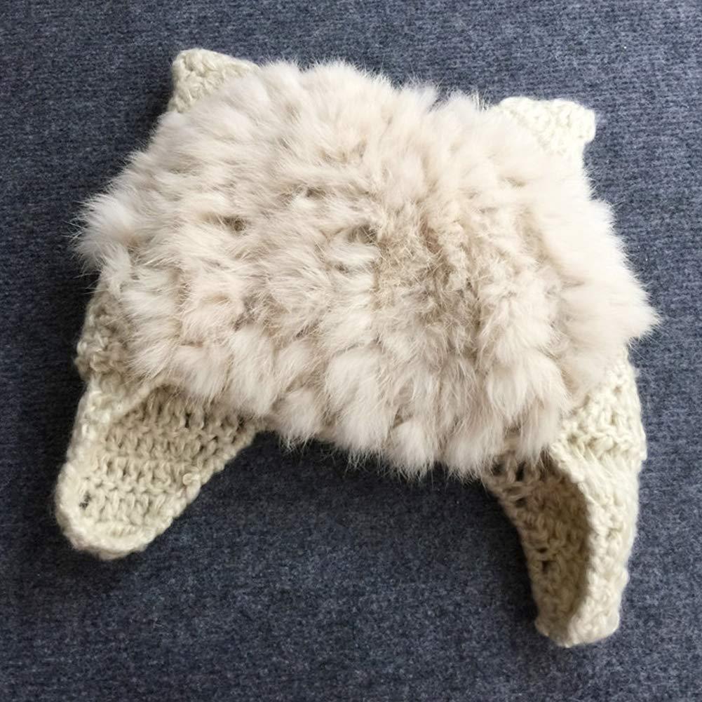 BAOBAO Cute Cat Ear Beanie Knit Fluffy Rabbit Fur Winter Hat with Ear Flaps for Women or Kids