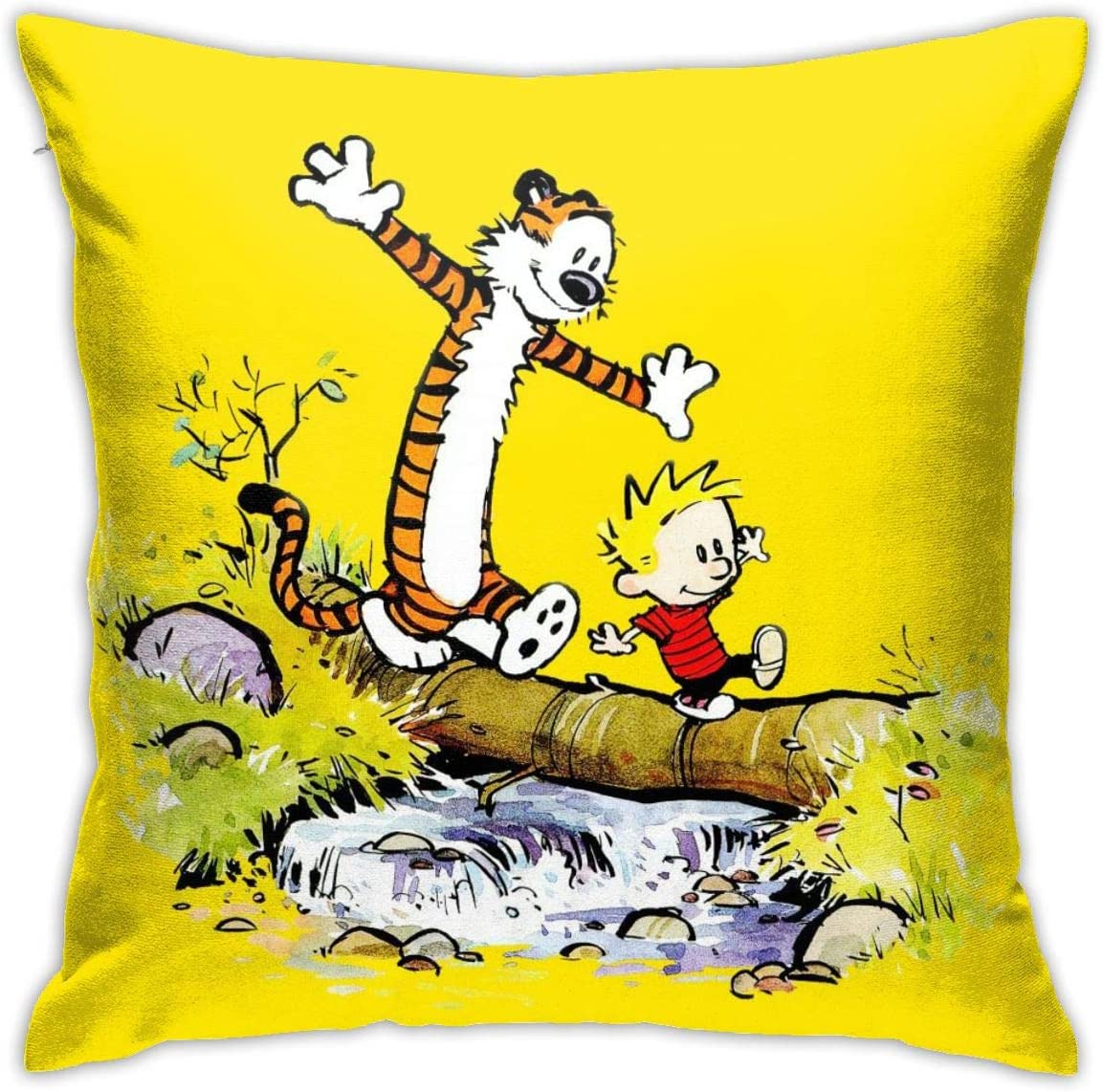 New Wanli CalvinandHobbes Pillow Cases, Silky Soft Cushion Covers for Couch Sofa Home Decor, 18x18inch (White 10)