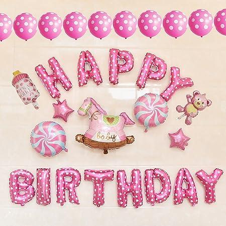 KAIMO 30 unids/Set Pink Feliz Cumpleaños Cartas Polka Dots ...