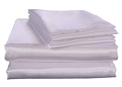 Honeymoon Luxury Satin Bed Sheet Set, Ultra Silky Soft, Queen   White