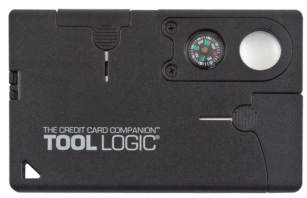 Tool Logic Credit Card Companion with Lens/Compass CC1SB - 9 Tools, Black, 2'' Blade