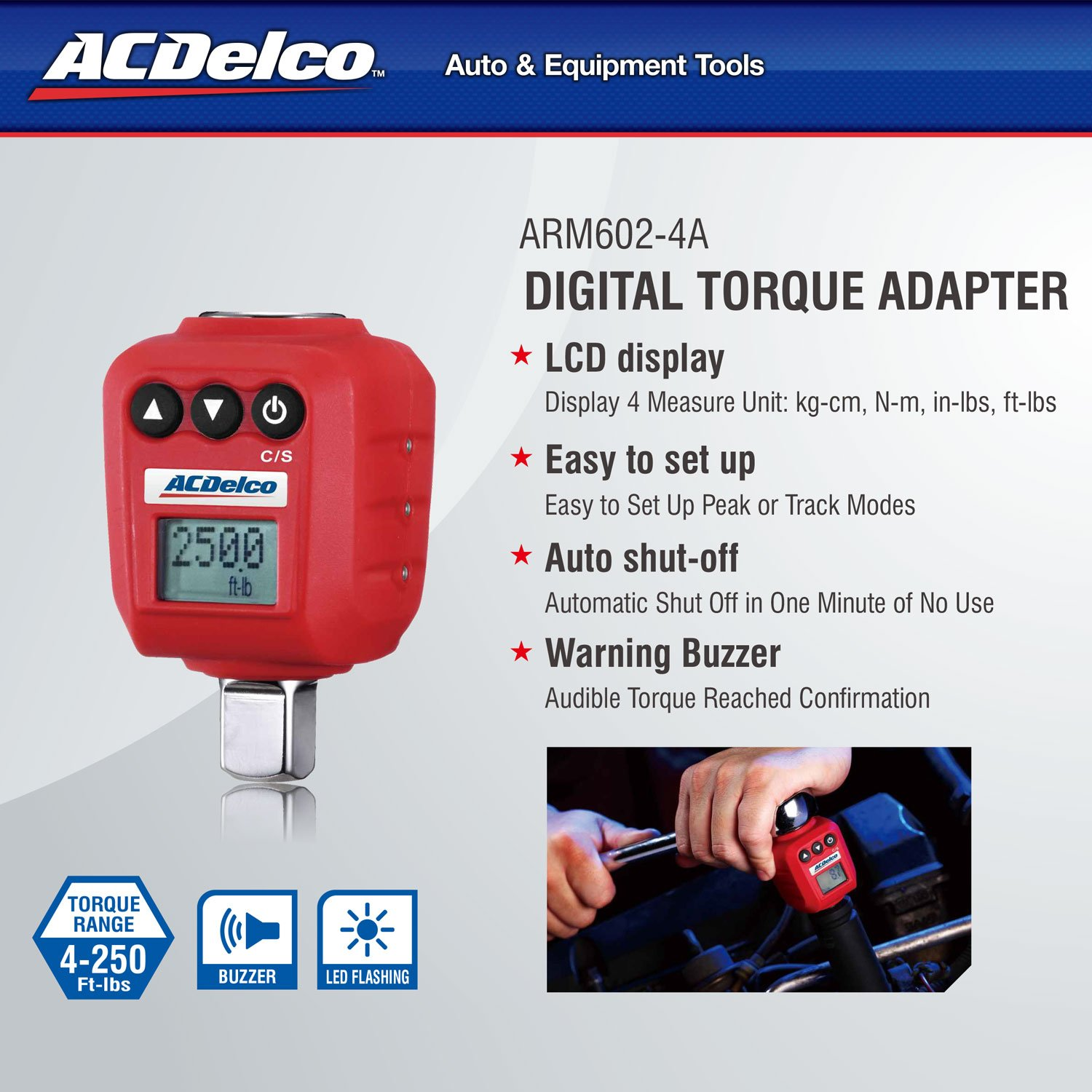 ACDelco 1/2'' Digital Torque Adapter (4-250 ft-lbs) with Audible/LED Alert ARM602-4A by ACDelco Tools (Image #2)