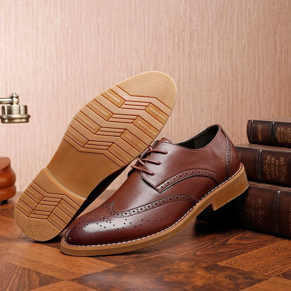 Männer Klassische Brogue Schuhe Leder Matte Atmungsaktiv Wingtip Echtes Leder Schuhe Ausgekleidet Oxfords (Suede optional) (Farbe : Suede BLK, Größe : 8.5MUS) Braun e5b722