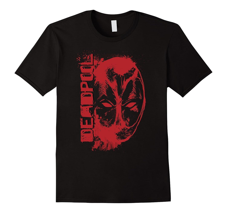Marvel Deadpool Vertical Red Splatter Logo and Face T-Shirt-BN