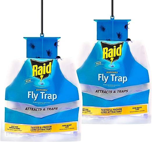 Lot de 2 pièges à mouches Raid pour intérieur et extérieur