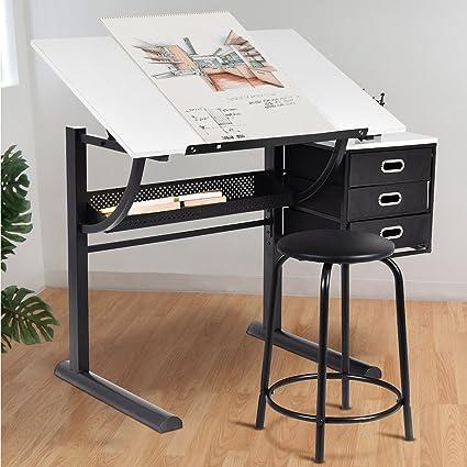 Tangkula drafting table art craft drawing desk art hobby folding adjustable w stool