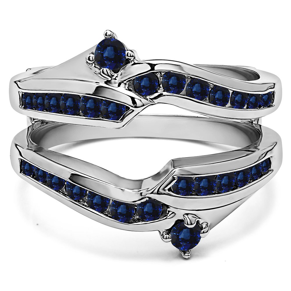 Silver Ying Yang Inspired Anniversary Ring Guard with Sapphire (0.79 ct. twt.)