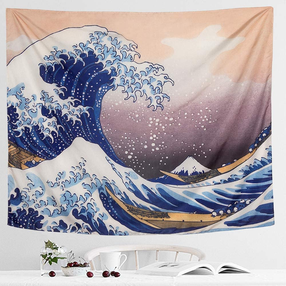 """IcosaMro Wave Tapestry Wall Hanging - Hokusai Wall Art with Hemmed Edges& Hooks, Ocean Sea Wall Blanket Home Decor for Bedroom College Dorm, (The Great Wave Off Kanagawa, 51x60"""")"""