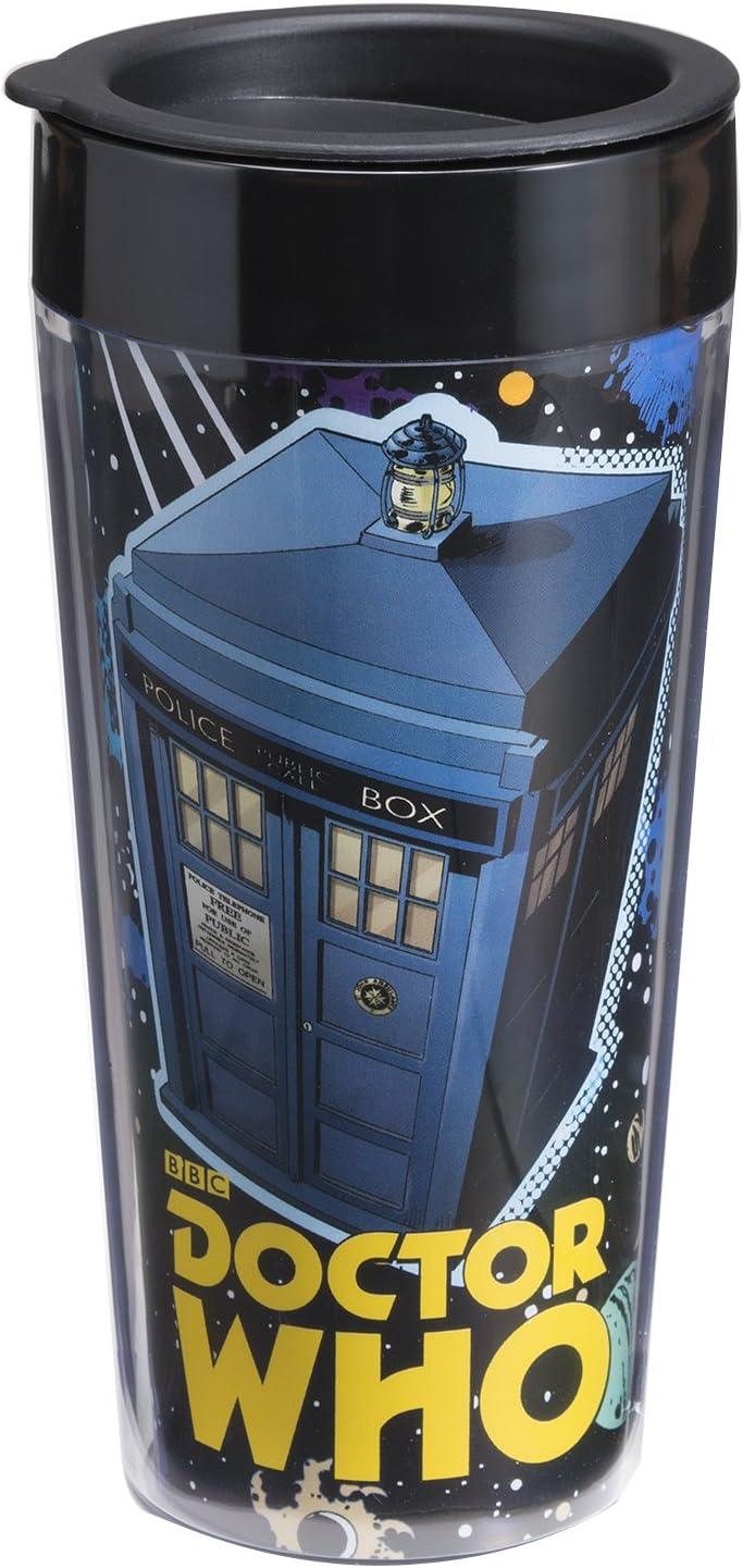 Vandor 16051 Doctor Who 16 oz Plastic Travel Mug, Multicolor