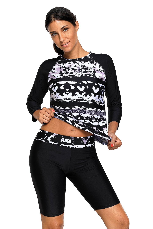 Women's Printed Long Sleeve Rashguard Top and Capri Pants Two Piece Swimsuit Set M by Grace's Secret (Image #1)