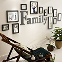 Qi Solid Wood Photo Wall Creative Combination Living Room Bedroom Staircase Photo Wall(Overall Size: 72*205Cm),Black