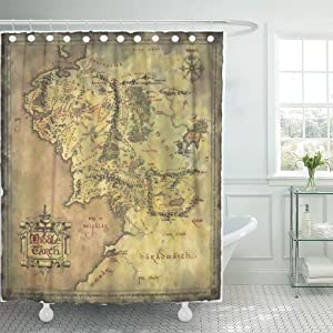 """Semtomn Shower Curtain Middle Earth Map 66""""x72"""" Home Decor Waterproof Bath Bathroom Curtains Set with Hooks"""