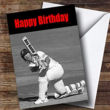 Amazon Com Cricket Fan Bat Funny Personalized Birthday Greetings Greetings Card Office Products