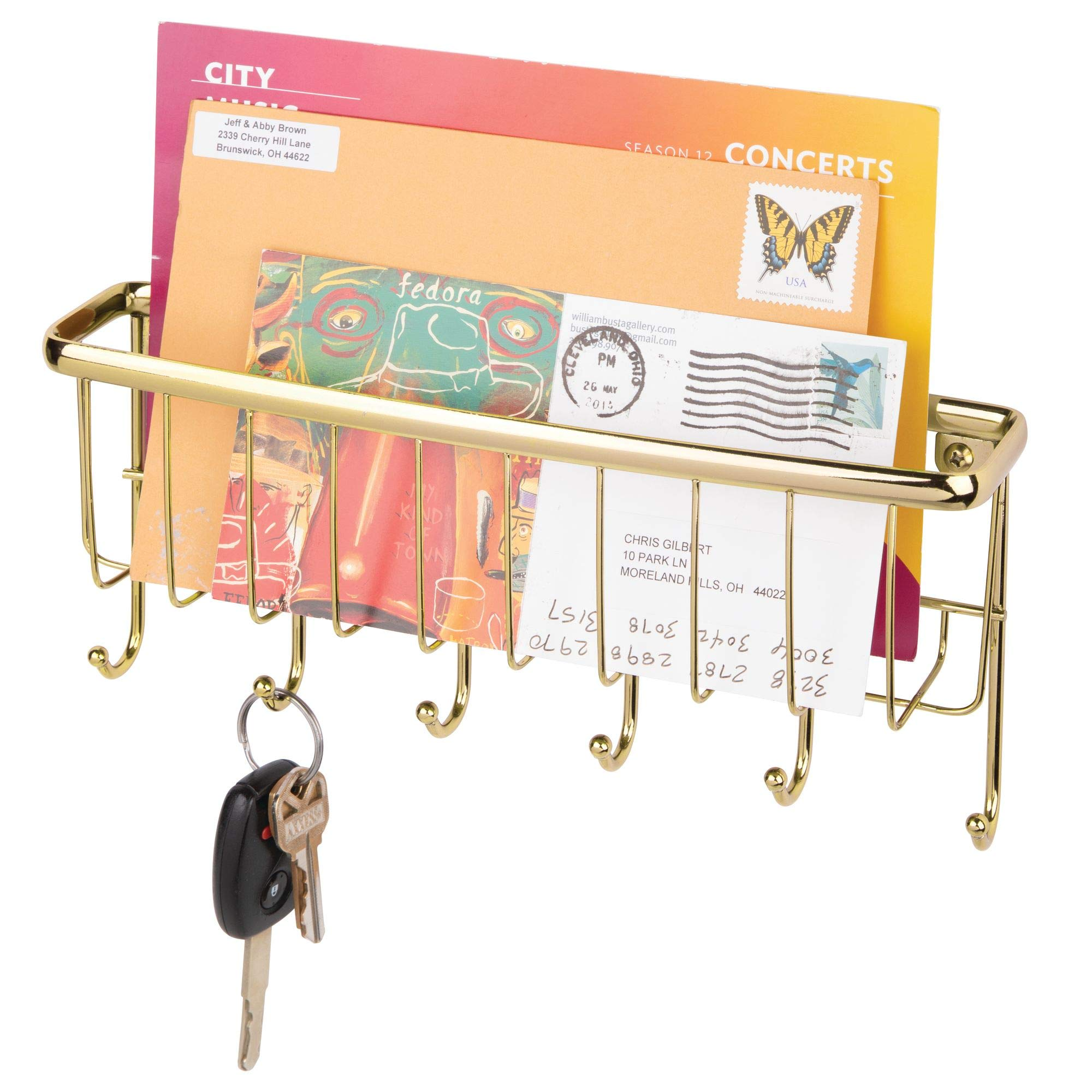 mDesign Wall Mount Metal Entryway Storage Organizer Mail Sorter Basket with 6 Hooks - Letter, Magazine, Coat, Leash and Key Holder for Entryway, Mudroom, Hallway, Kitchen, Office - Soft Brass