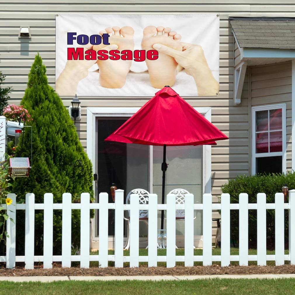 Vinyl Banner Multiple Sizes Foot Massage C Outdoor Advertising Printing Business Outdoor Weatherproof Industrial Yard Signs 8 Grommets 48x96Inches