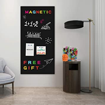Board2by Magnetic Chalkboard Paper For Wall 38 9 X 18 Self Adhesive Chalk Board Wallpaper Blackboard Paper With 46 Magnetic Letters For Kids Black Amazon Ca Office Products