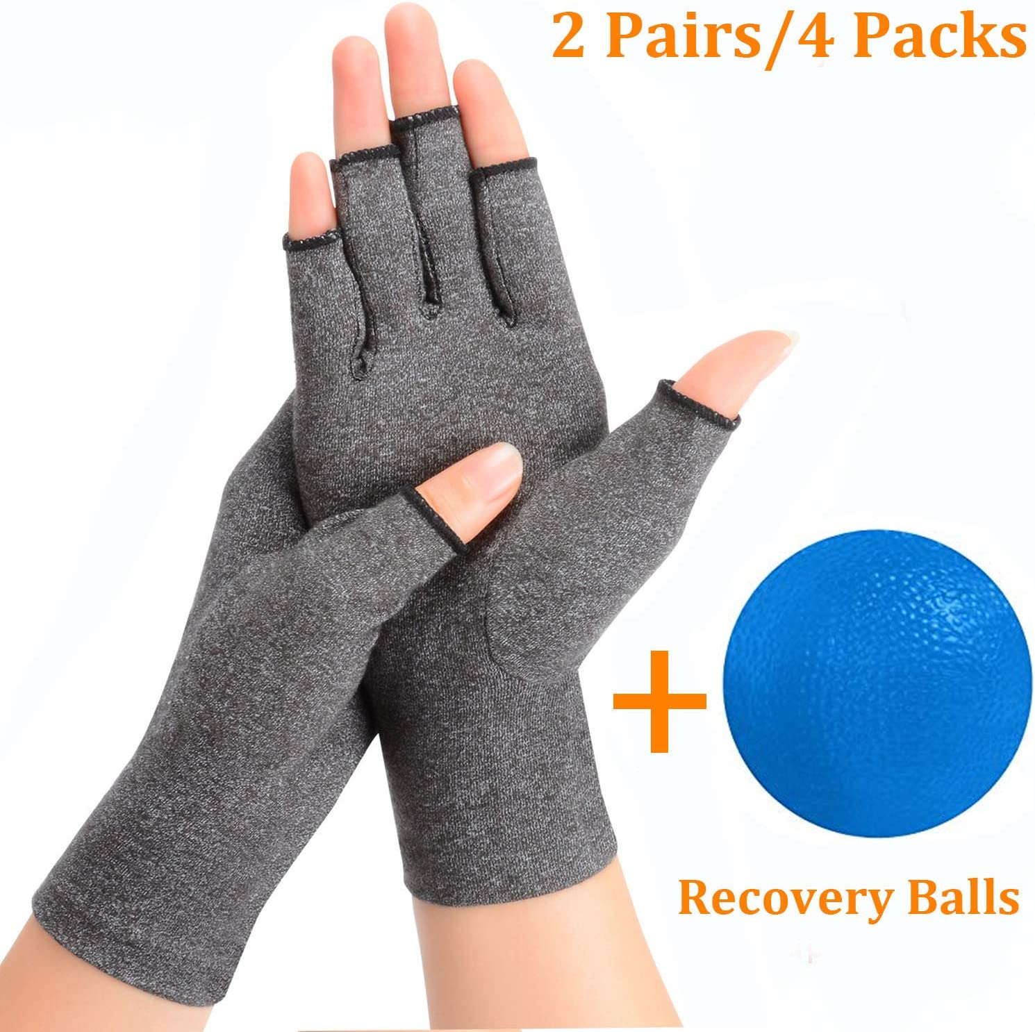 2 Pairs Arthritis Compression Rheumatoid Gloves,Fingerless Gloves to Relieve Paim from Rheumatoid and Osteoarthritis with Free Recovery Ball, Men and Women (Grey, Medium) 711IOw7hQ0L