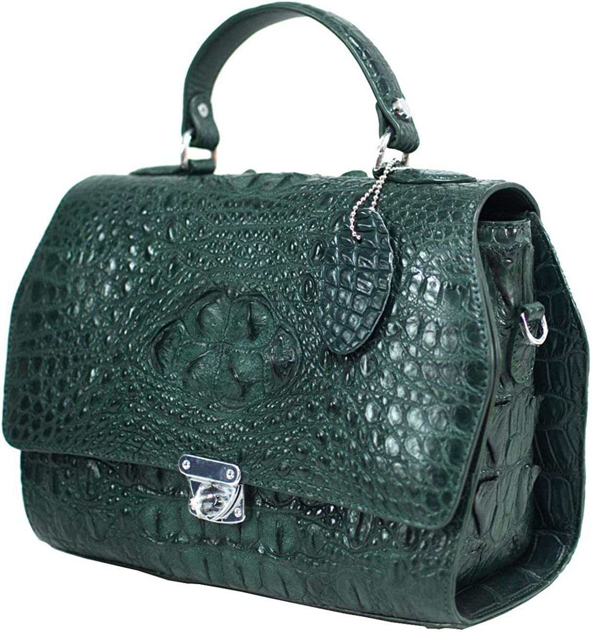 Authentic M Crocodile Skin Womens Hornback W/Strap Hobo Shoulder Bag Purse Green Handbag