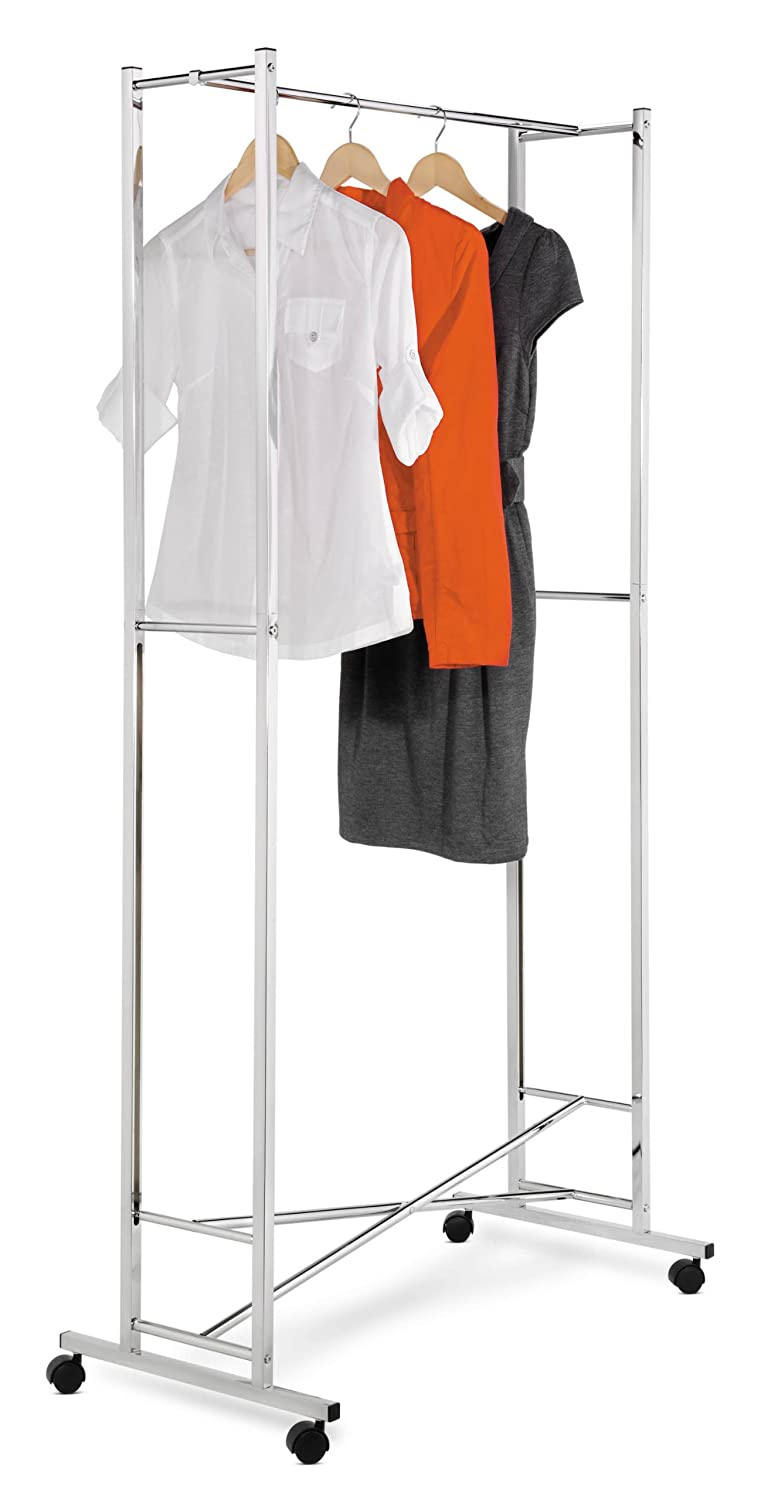 Amazon com honey can do gar 01268 deluxe collapsible garment rack on locking casters chrome finish home kitchen