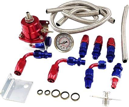 Adjustable Car Auto Fuel Pressure Regulator Aluminum w// Filled Oil Gauge Blue