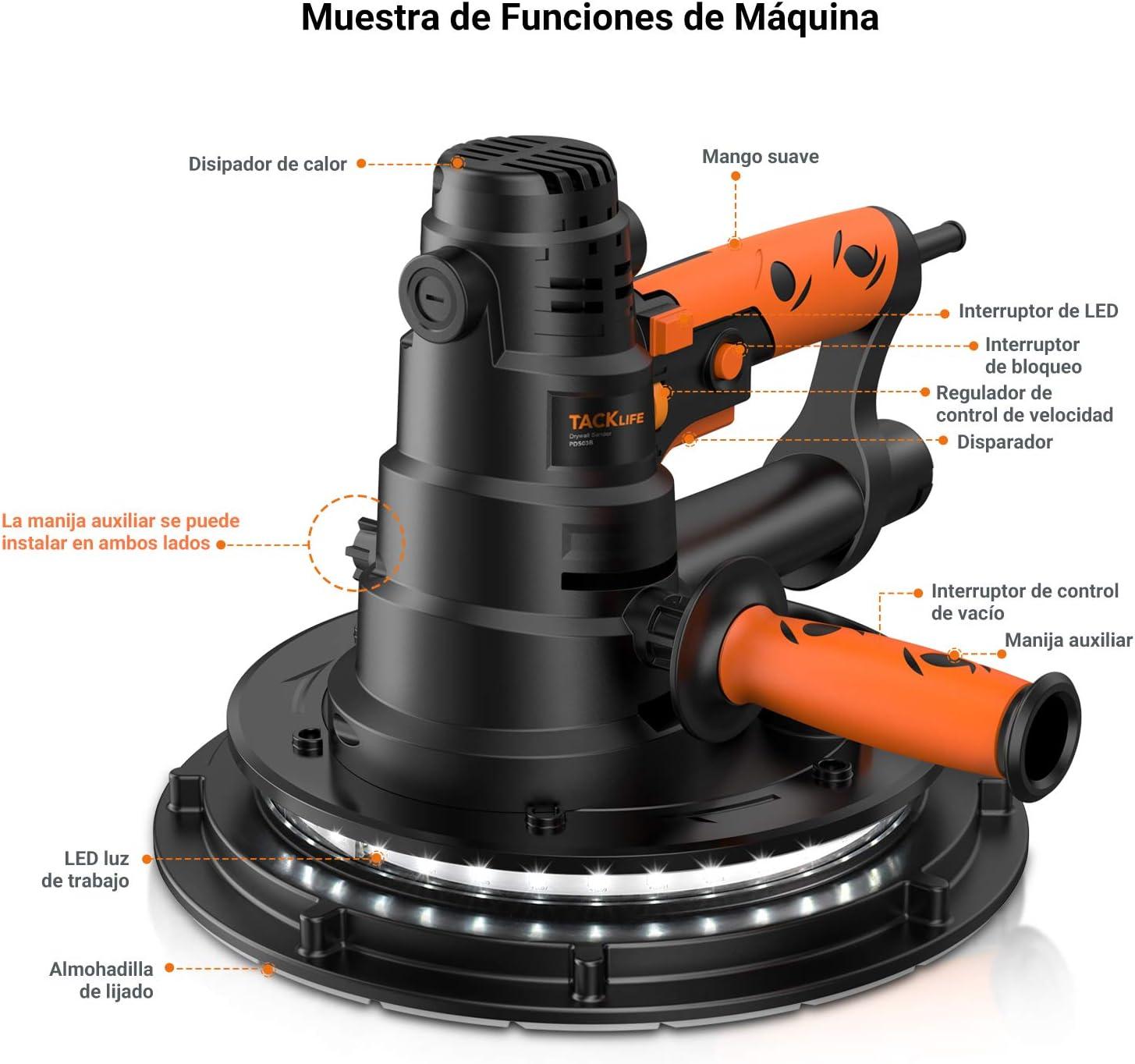 TACKLIFE Lijadora de Pared 800W con Sistema de Autolimpieza y Luz ...