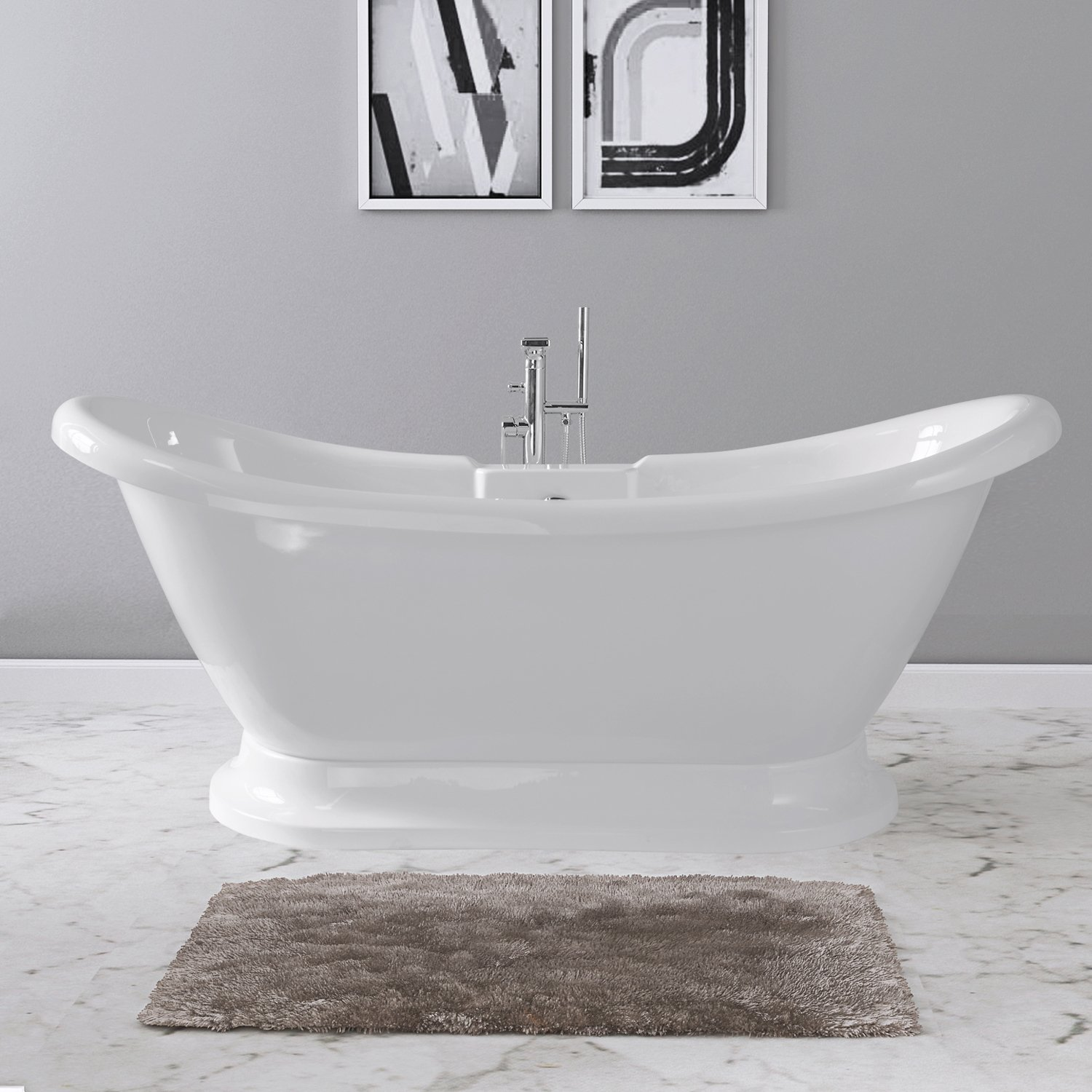MAYKKE Dorothy 69 Inch Traditional Oval Bathroom Acrylic Bathtub Freestanding White Bath Tubs for a Home | Double Slipper Soaker | cUPC Certified, OMA1128003