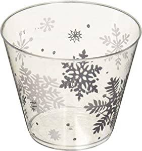 Amscan Snowflake Tumblers, Christmas Cups, New Year's Eve Party Supplies, 9 oz Capacity, Clear, 40 Count