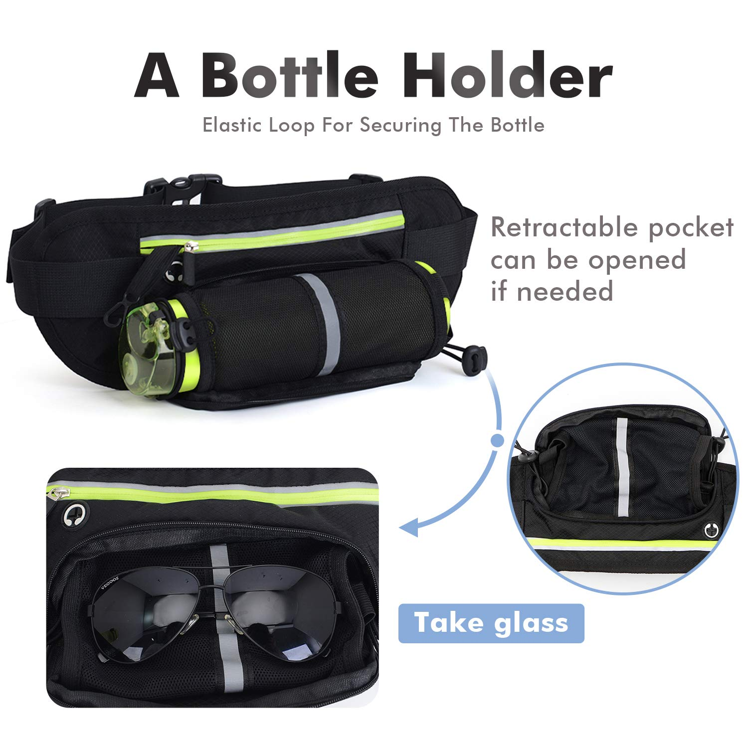 Fanny Pack Waist Bags Travel Money Belt with Water Bottle Holder Hiking Running