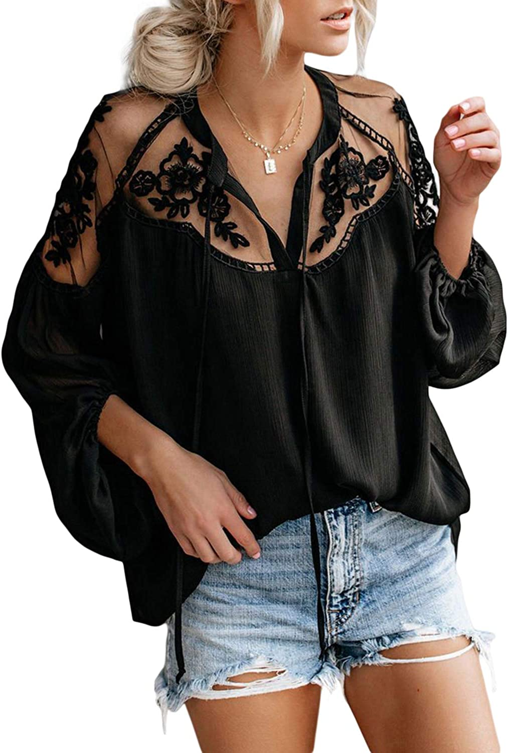 Biucly Womens Casual Solid V Neck Lace Crochet Button Down Bell Sleeve Shirts Tops Loose Blouses(S-XXL): Clothing