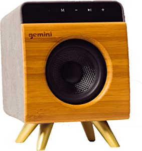 Gemini BRS-130 Portable Bluetooth Speaker 12W Stereo Sound with Built-in Mic and Battery, USB/SD Playback, 3.5MM Auxiliary Input, Wireless Speaker for Outdoors Travel and Home - Bamboo Finish