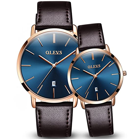 Hombres y mujeres Reloj de cuarzo,30m impermeable Calendario Cuarzo Correa de cuero Reloj Pareja reloj Un par de Diseño minimalista-B: Amazon.es: Relojes
