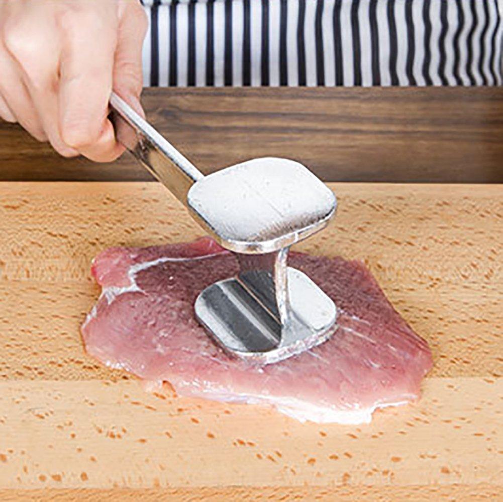 Fablcrew 1Pcs Marteau /à Viande Attendrisseur de Viande Marteau /à Viande Double C/ôt/és en Alliage Daluminium Durable Outils de Cuisine
