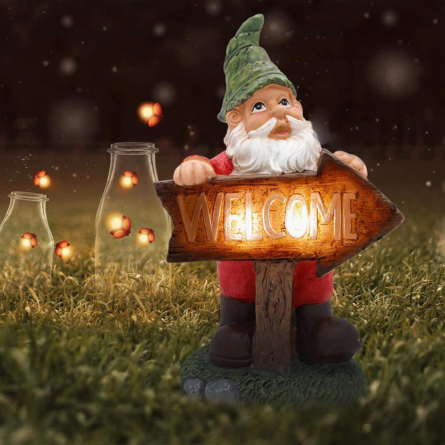 LUCKYBUNNY Funny Garden Gnome Statue with Solar LED Light, Waterproof Welcome Elf Tomte Gnomes Figurine Outdoor Sculpture for Patio, Yard, Lawn Porch Decoration
