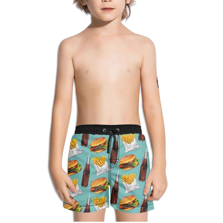 Ouxioaz Boys Swim Trunk Hamburger Fries Soda Pattern Beach Board Shorts