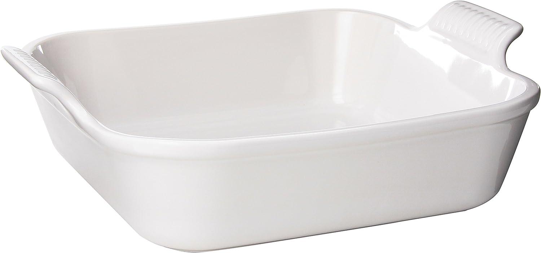 Le Creuset PG0800-2316 Heritage Stoneware Square Dish, 3-Quart, White