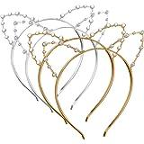 Bandeau de Chat,Yosemy 4 Pièces oreilles de chat avec les perles et cristal,Or et argent,Bandeau d'Oreille de Chat Serre-Tête Oreilles pour Fête et Décoration Quotidienne Pour Femmes Filles