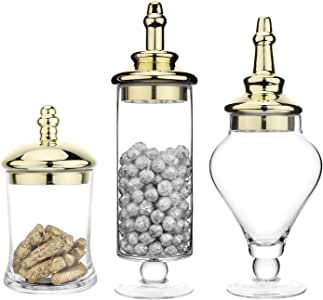 MyGift Set of 3 Antique-Theme Glass Apothecary Jars with Metallic Brass-Tone Lids