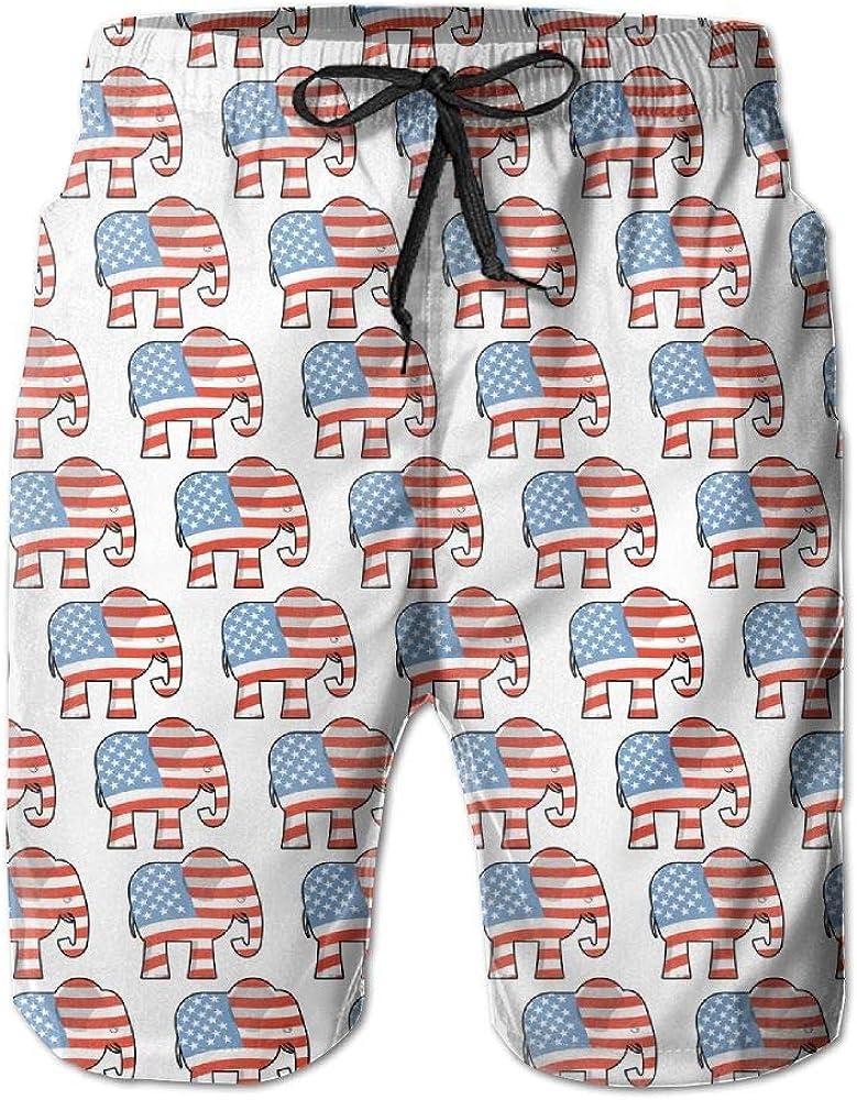 DELIDAA Republican Elephant Pattern Mens Boy Casual Quick-Drying Beach Pant Swim Board Shorts