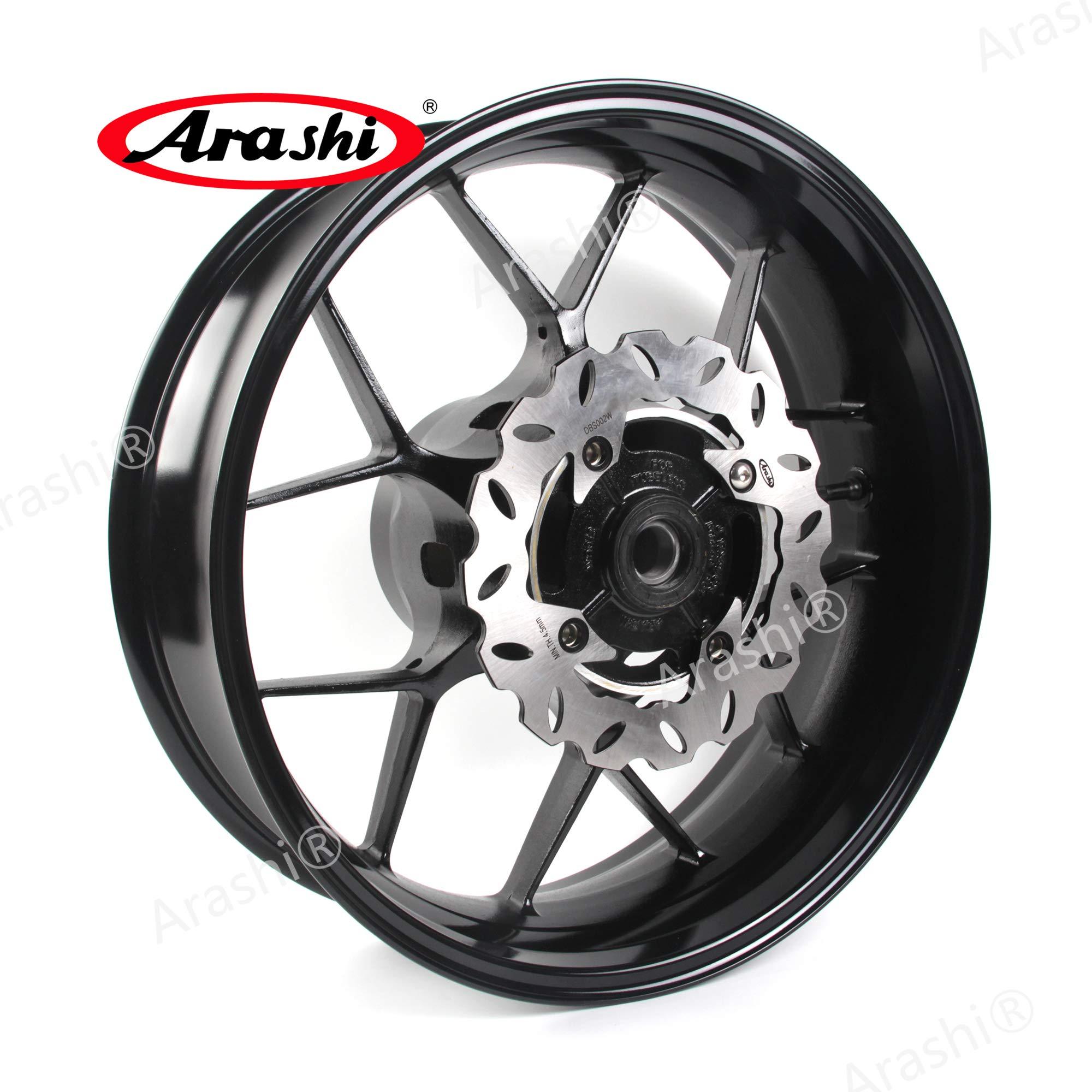 Arashi Rear Wheel Rim and Brake Rotor Disc Disk for HONDA CBR600RR 2007-2017 Motorcycle Accessories CBR 600 RR CBR600 600RR 600CC Black 2008 2009 2010 2011 2012 2013 2014 2015 2016
