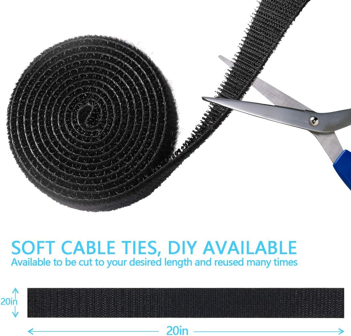 Gifort Organizador de Cables Negro 4 Cubre Cables y 3 Bridas para Cables para Mesa Cargadores Oficina y Hogar 17 Piezas Gesti/ón de Cable con 10 Clips de Cable Autoadhesivo