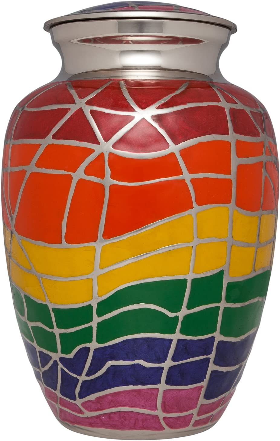 Ansons Urns Rainbow Cremation Urn with Silver Accents - Funeral Urn for Human Ashes - Large Adult Size Burial Urn - 100% Brass - Up to 200 lbs
