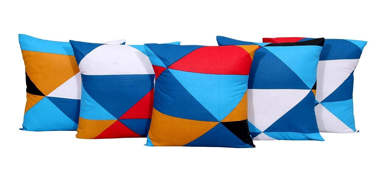 Home Elite Microfiber Geometrical Design Zippered Cushion Covers – Set of 5