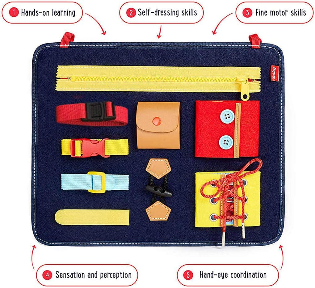 OKSANO Montessori Educational Toys for Baby Toddlers Busy Board Montessori Basic Skills Activity Board for Early Learning Dress Life Skills Developmental Toys