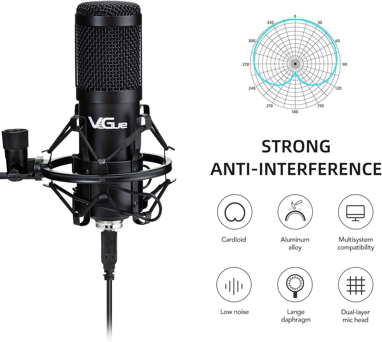 YouTube Voice Over Aufnahme PC Karaoke Spiel USB Mikrofon Kit Kondensatormikrofon VeGue028 192kHz // 24Bit Plug /& Play mit professionellem Soundchip f/ür Podcast