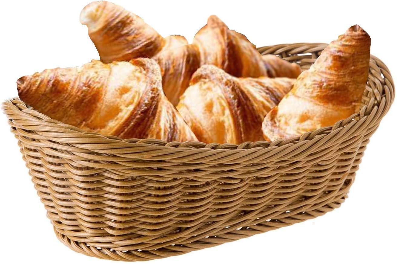 CNMF Wicker Baskets, Handmade Woven Pantry Organizer, Tabletop Food Serving Baskets for Fruits, Vegetables and Snacks, Restaurant, Bread Basket for Serving