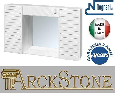 Espejo armario negrari SIMPATY móvil muebles baño colada caja puertas suspendido PVC Plástico Resina interno externo blanco luz interruptor 58x37x12 cm L58 P12 H37 cm economico estante Apoyo ligero: Amazon.es: Hogar