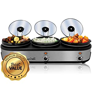 MegaChef MC-1203 Triple 2.5 Quart Slow Cooker and Buffet Server in Brushed Silver and Black Finish with 3 Ceramic Cooking Pots and Removable Lid Rests