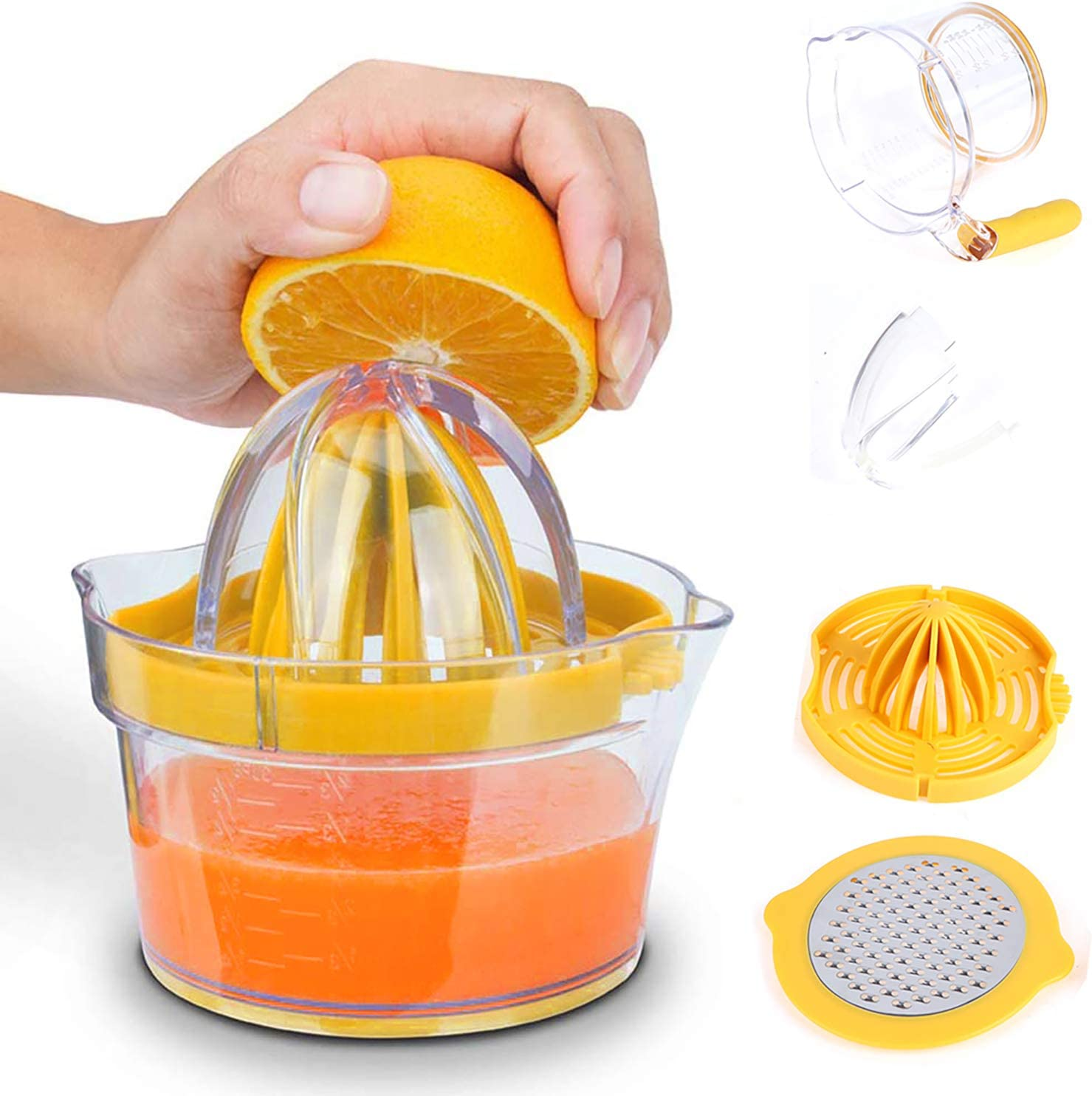 Welecom Manual Juicer Citrus Juicer Manual Hand Squeezer Fruit Lemon Lime Orange Squeezer with Cup Juicer Strainer,Built-in Measuring Cup Ginger Garlic Grater&Egg Separator,Non-Slip Silicone Handle