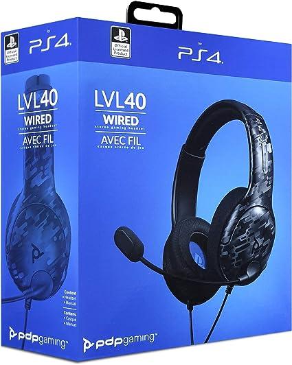 PDP - Auricular Stereo Gaming LVL40 Con Cable, Negro Camo (PS4): Amazon.es: Videojuegos